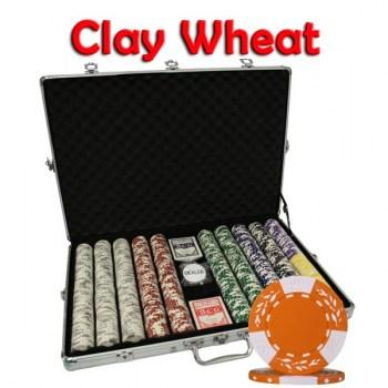 1000PCS 10.5G PURE CLAY WHEAT DESIGN POKER CHIPS SET With ALUM CASE