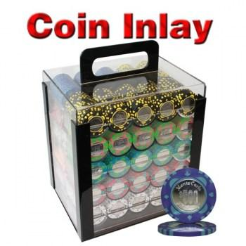1000PCS 12G MONTE CARLO COIN INLAY POKER CHIPS SET With ACRYLIC CASE and CHIPS TRAYS