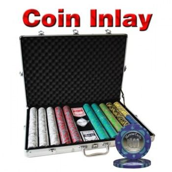 1000PCS 12G MONTE CARLO COIN INLAY POKER CHIPS SET With ALUM CASE