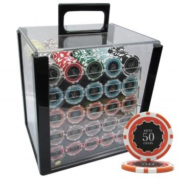 1000PCS 14G ECLIPSE POKER CHIPS SET With ACRYLIC CASE and CHIPS TRAYS