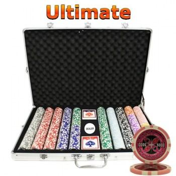 1000PCS 14G LASER GRAPHIC ULTIMATE POKER CHIPS SET With ALUM CASE