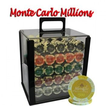 1000PCS 14G MONTE CARLO MILLIONS POKER CHIPS SET With ACRYLIC CASE and CHIPS TRAYS