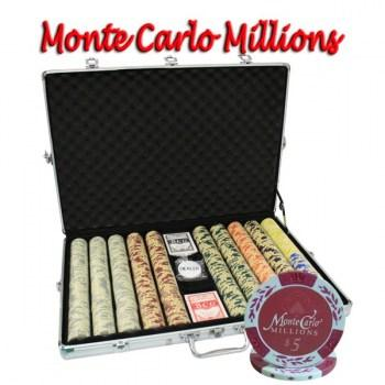 1000PCS 14G MONTE CARLO MILLIONS POKER CHIPS SET With ALUM CASE