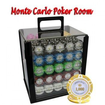 1000PCS 14G MONTE CARLO POKER ROOM POKER CHIPS SET With ACRYLIC CASE and CHIPS TRAYS