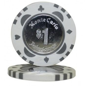 25 MONTE CARLO COIN INLAY $1 POKER CHIPS
