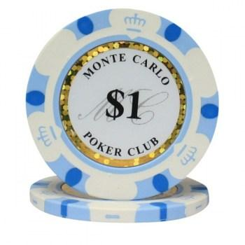 25 MONTE CARLO POKER CLUB $1 POKER CHIPS
