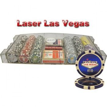 300PCS 14G LASER GRAPHIC LAS VEGAS POKER CHIPS SET LARGE ACRYLIC CASE