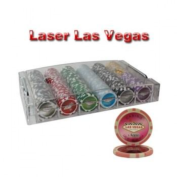 300PCS 14G LASER GRAPHIC LAS VEGAS POKER CHIPS SET With ACRYLIC CASE