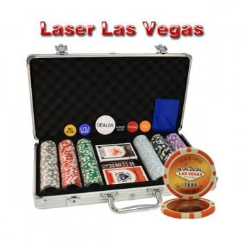 300PCS 14G LASER GRAPHIC LAS VEGAS POKER CHIPS SET With ALUM CASE
