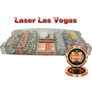 300PCS 14G LASER GRAPHIC LAS VEGAS POKER CHIPS SET With LARGE ACRYLIC CASE