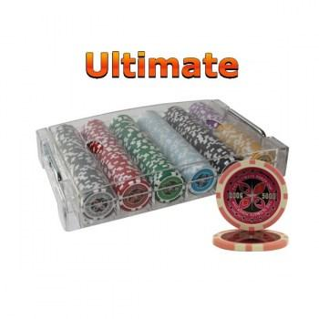 300PCS 14G LASER GRAPHIC ULTIMATE POKER CHIPS SET With ACRYLIC CASE