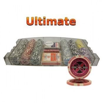 300PCS 14G LASER GRAPHIC ULTIMATE POKER CHIPS SET With LARGE ACRYLIC CASE
