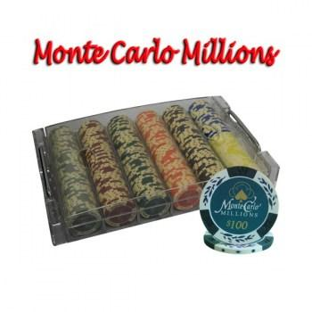 300PCS 14G MONTE CARLO MILLIONS POKER CHIPS SET With ACRYLIC CASE