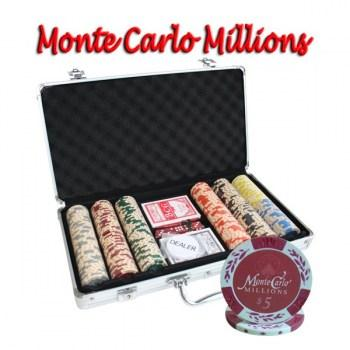300PCS 14G MONTE CARLO MILLIONS POKER CHIPS SET With ALUM CASE