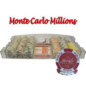300PCS 14G MONTE CARLO MILLIONS POKER CHIPS SET With LARGE ACRYLIC CASE