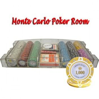 300PCS 14G MONTE CARLO POKER ROOM POKER CHIPS SET With LARGE ACRYLIC CASE
