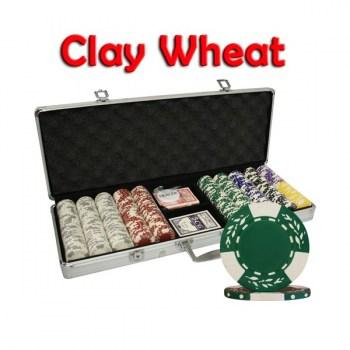 500PCS 10.5G PURE CLAY WHEAT DESIGN POKER CHIPS SET With ALUM CASE