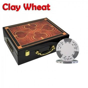 500PCS 10.5G PURE CLAY WHEAT DESIGN POKER CHIPS SET With HIGH GLOSS WOOD CASE
