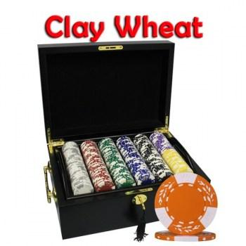 500PCS 10.5G PURE CLAY WHEAT DESIGN POKER CHIPS SET With MAHOGANY CASE