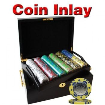 500PCS 12G MONTE CARLO COIN INLAY POKER CHIPS SET With MAHOGANY CASE