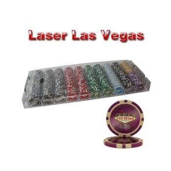 500PCS 14G LASER GRAPHIC LAS VEGAS POKER CHIPS SET With ACRYLIC CASE