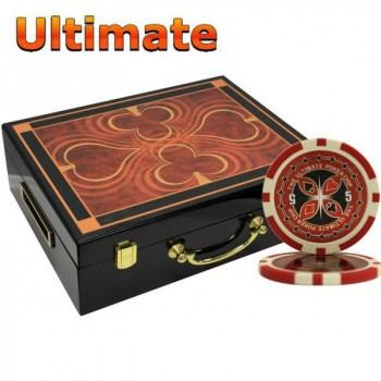 500PCS 14G LASER GRAPHIC ULTIMATE POKER CHIPS SET With HIGH GLOSS WOOD CASE