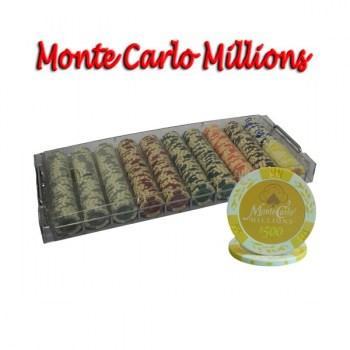 500PCS 14G MONTE CARLO MILLIONS POKER CHIPS SET With ACRYLIC CASE