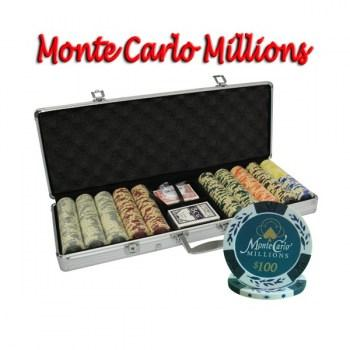 500PCS 14G MONTE CARLO MILLIONS POKER CHIPS SET With ALUM CASE