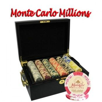 500PCS 14G MONTE CARLO MILLIONS POKER CHIPS SET With MAHOGANY CASE
