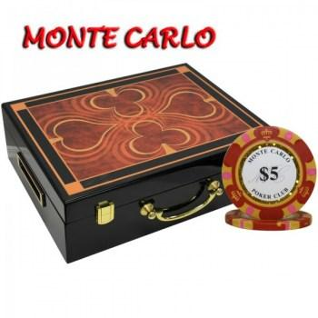 500PCS 14G MONTE CARLO POKER CLUB POKER CHIPS SET With HIGH GLOSS WOOD CASE
