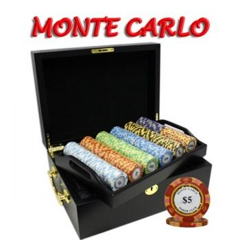 500PCS 14G MONTE CARLO POKER CLUB POKER CHIPS SET With MAHOGANY CASE