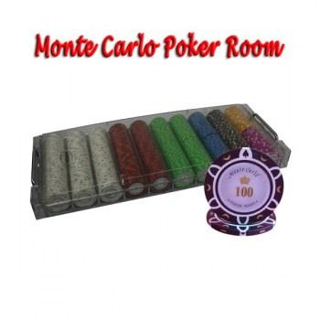 500PCS 14G MONTE CARLO POKER ROOM POKER CHIPS SET With ACRYLIC CASE