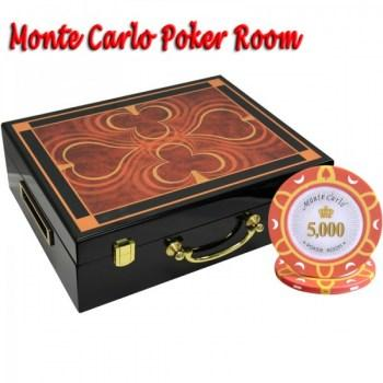 500PCS 14G MONTE CARLO POKER ROOM POKER CHIPS SET With HIGH GLOSS WOOD CASE