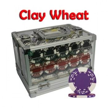 600PCS 10.5G PURE CLAY WHEAT DESIGN POKER CHIPS SET With ACRYLIC CASE and CHIPS TRAYS