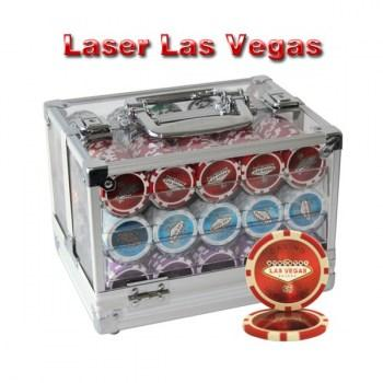 600PCS 14G LASER GRAPHIC LAS VEGAS POKER CHIPS SET With ACRYLIC CASE and CHIPS TRAYS