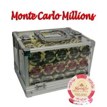 600PCS 14G MONTE CARLO MILLIONS POKER CHIPS SET With ACRYLIC CASE and CHIPS TRAYS