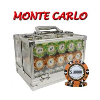 600PCS 14G MONTE CARLO POKER CLUB POKER CHIPS SET With ACRYLIC CASE and CHIPS TRAYS