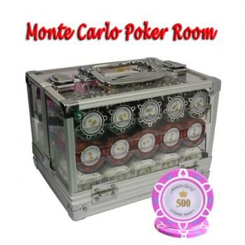 600PCS 14G MONTE CARLO POKER ROOM POKER CHIPS SET With ACRYLIC CASE and CHIPS TRAYS