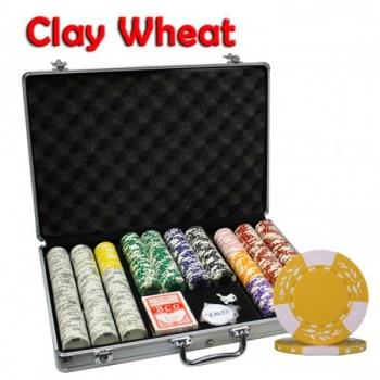 650PCS 10.5G PURE CLAY WHEAT DESIGN POKER CHIPS SET With ALUM CASE