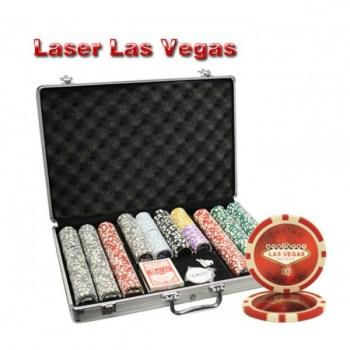 650PCS 14G LASER GRAPHIC LAS VEGAS POKER CHIPS SET With ALUM CASE
