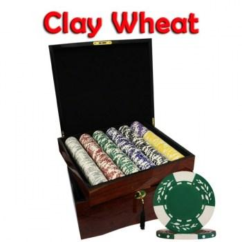 750PCS 10.5G PURE CLAY WHEAT DESIGN POKER CHIPS SET With MAHOGANY CASE