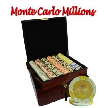 750PCS 14G MONTE CARLO MILLIONS POKER CHIPS SET With MAHOGANY CASE