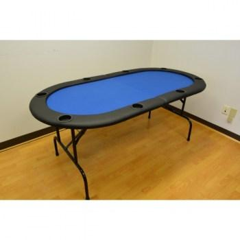 8 Player Poker Table Folding Top Blue_28